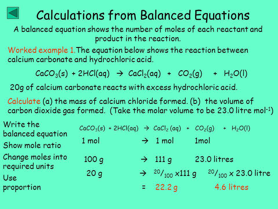 A balanced equation shows the number of moles of each reactant and product in the reaction.