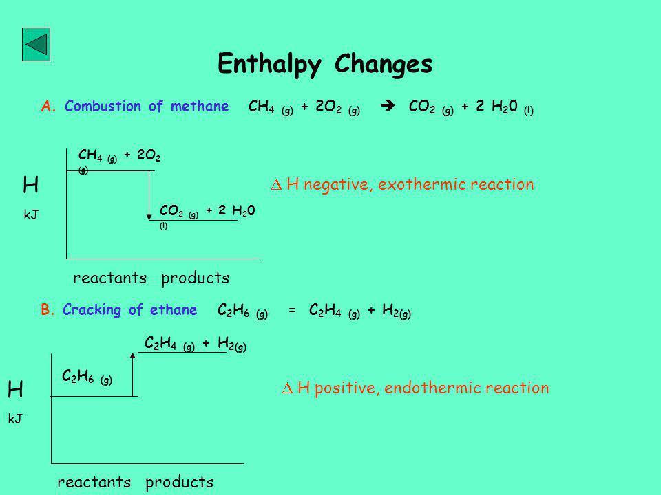 Enthalpy Changes H kJ A.