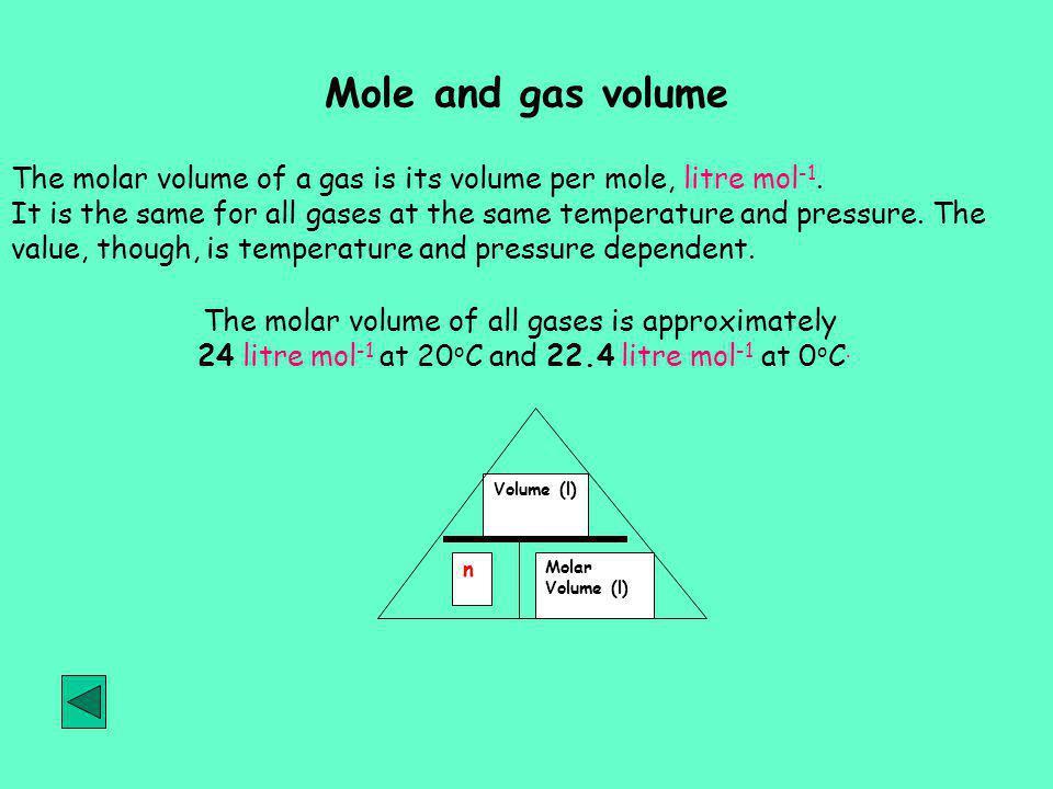 Mole and gas volume The molar volume of a gas is its volume per mole, litre mol -1.