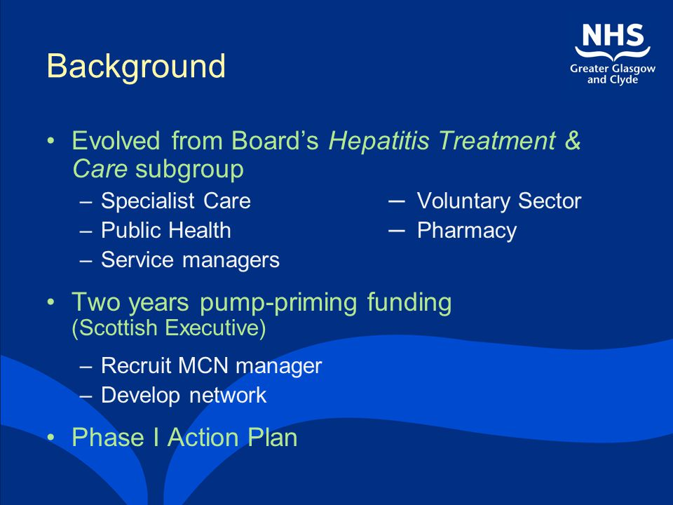 Background Evolved from Board's Hepatitis Treatment & Care subgroup –Specialist Care ─ Voluntary Sector –Public Health ─ Pharmacy –Service managers Tw