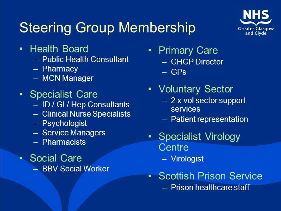 Steering Group Membership Health Board –Public Health Consultant –Pharmacy –MCN Manager Specialist Care –ID / GI / Hep Consultants –Clinical Nurse Spe