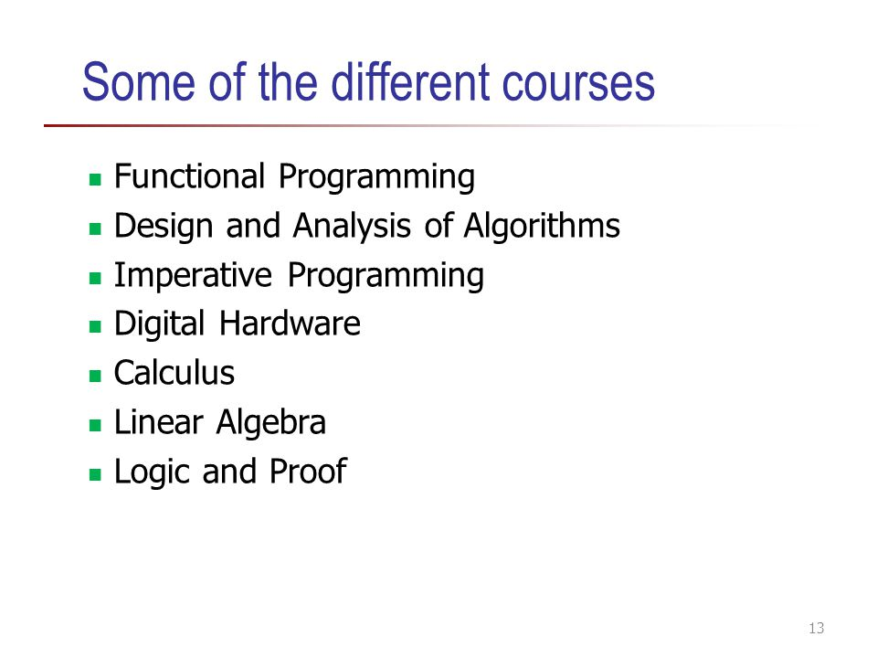 Some of the different courses Functional Programming Design and Analysis of Algorithms Imperative Programming Digital Hardware Calculus Linear Algebra