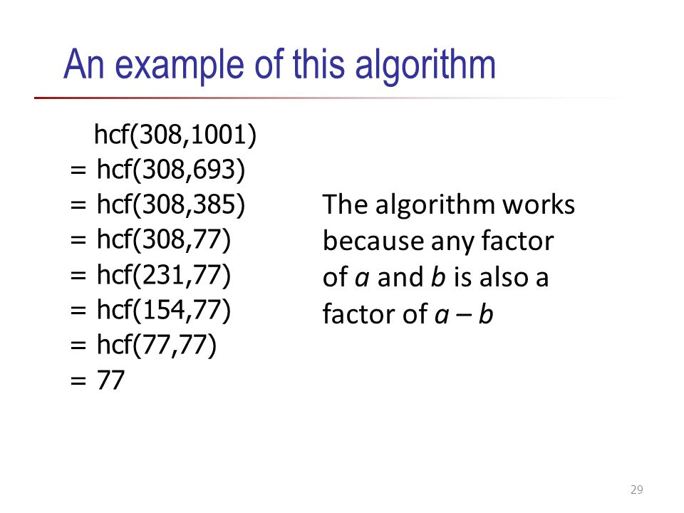 An example of this algorithm hcf(308,1001) = hcf(308,693) = hcf(308,385) = hcf(308,77) = hcf(231,77) = hcf(154,77) = hcf(77,77) = 77 29 The algorithm works because any factor of a and b is also a factor of a – b