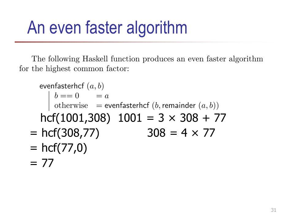 An even faster algorithm hcf(1001,308)1001 = 3 × 308 + 77 = hcf(308,77)308 = 4 × 77 = hcf(77,0) = 77 31