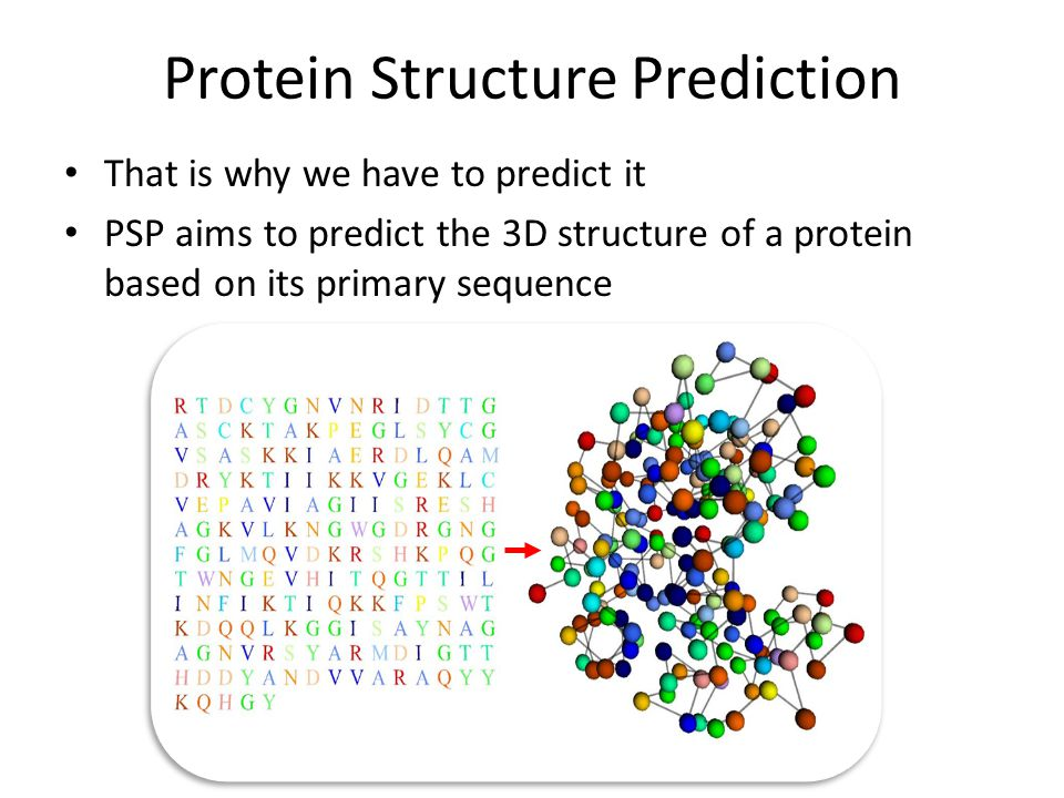 Protein Structure Prediction That is why we have to predict it PSP aims to predict the 3D structure of a protein based on its primary sequence