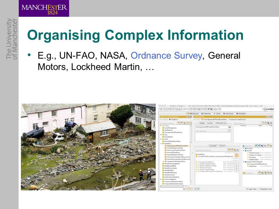 Organising Complex Information E.g., UN-FAO, NASA, Ordnance Survey, General Motors, Lockheed Martin, …
