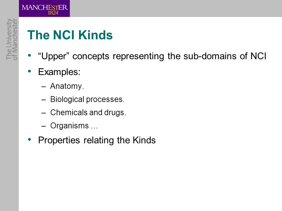 The NCI Kinds Upper concepts representing the sub-domains of NCI Examples: –Anatomy.