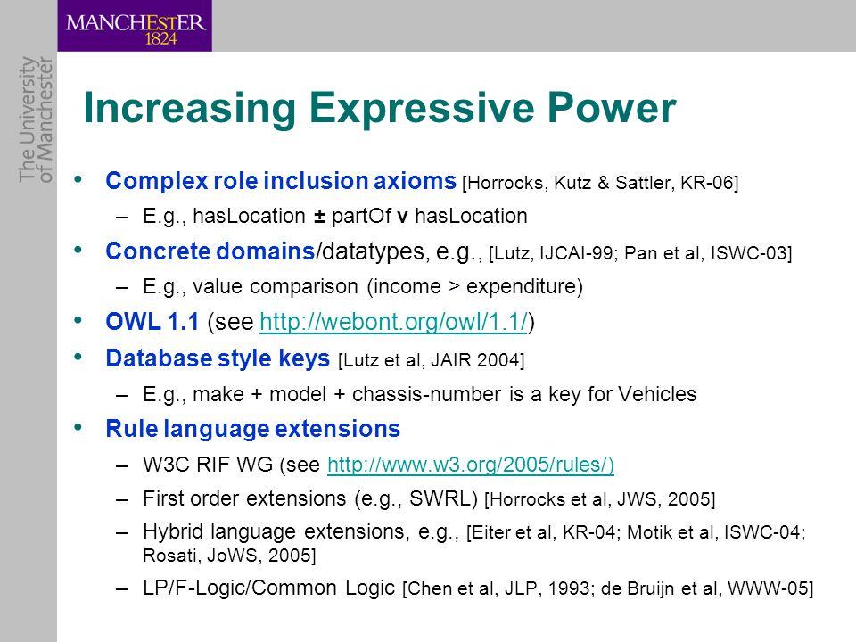 Increasing Expressive Power Complex role inclusion axioms [Horrocks, Kutz & Sattler, KR-06] –E.g., hasLocation ± partOf v hasLocation Concrete domains/datatypes, e.g., [Lutz, IJCAI-99; Pan et al, ISWC-03] –E.g., value comparison (income > expenditure) OWL 1.1 (see http://webont.org/owl/1.1/)http://webont.org/owl/1.1/ Database style keys [Lutz et al, JAIR 2004] –E.g., make + model + chassis-number is a key for Vehicles Rule language extensions –W3C RIF WG (see http://www.w3.org/2005/rules/)http://www.w3.org/2005/rules/) –First order extensions (e.g., SWRL) [Horrocks et al, JWS, 2005] –Hybrid language extensions, e.g., [Eiter et al, KR-04; Motik et al, ISWC-04; Rosati, JoWS, 2005] –LP/F-Logic/Common Logic [Chen et al, JLP, 1993; de Bruijn et al, WWW-05]