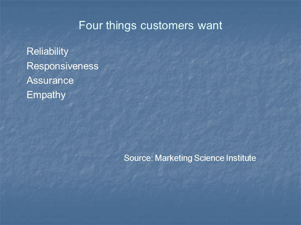 Four things customers want Reliability Responsiveness Assurance Empathy Source: Marketing Science Institute