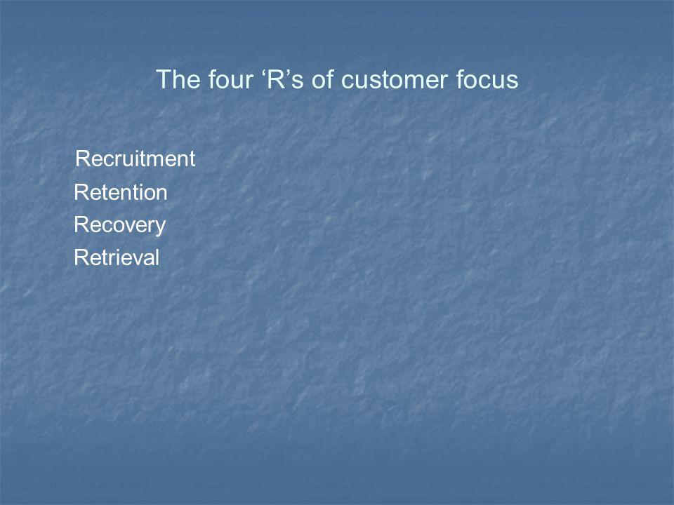 The four 'R's of customer focus Recruitment Retention Recovery Retrieval