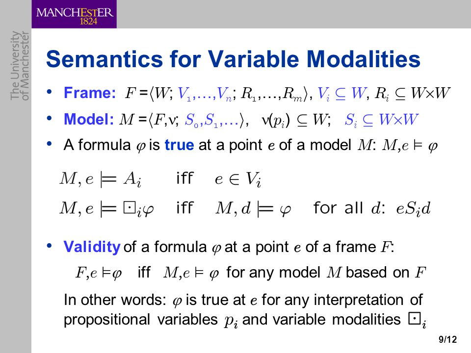 9/12 Semantics for Variable Modalities Frame: F = h W ; V 1,…, V n ; R 1,…, R m i, V i µ W, R i µ W £ W Model: M = h F, ; S 0, S 1,… i, ( p i ) µ W ; S i µ W £ W A formula  is true at a point e of a model M : M, e ²  Validity of a formula  at a point e of a frame F : F, e ²  iff M, e ²  for any model M based on F In other words:  is true at e for any interpretation of propositional variables p i and variable modalities ¡ i