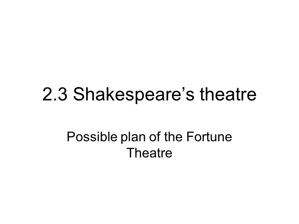 2.3 Shakespeare's theatre Possible plan of the Fortune Theatre