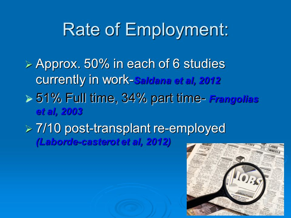 Rate of Employment:  Approx.