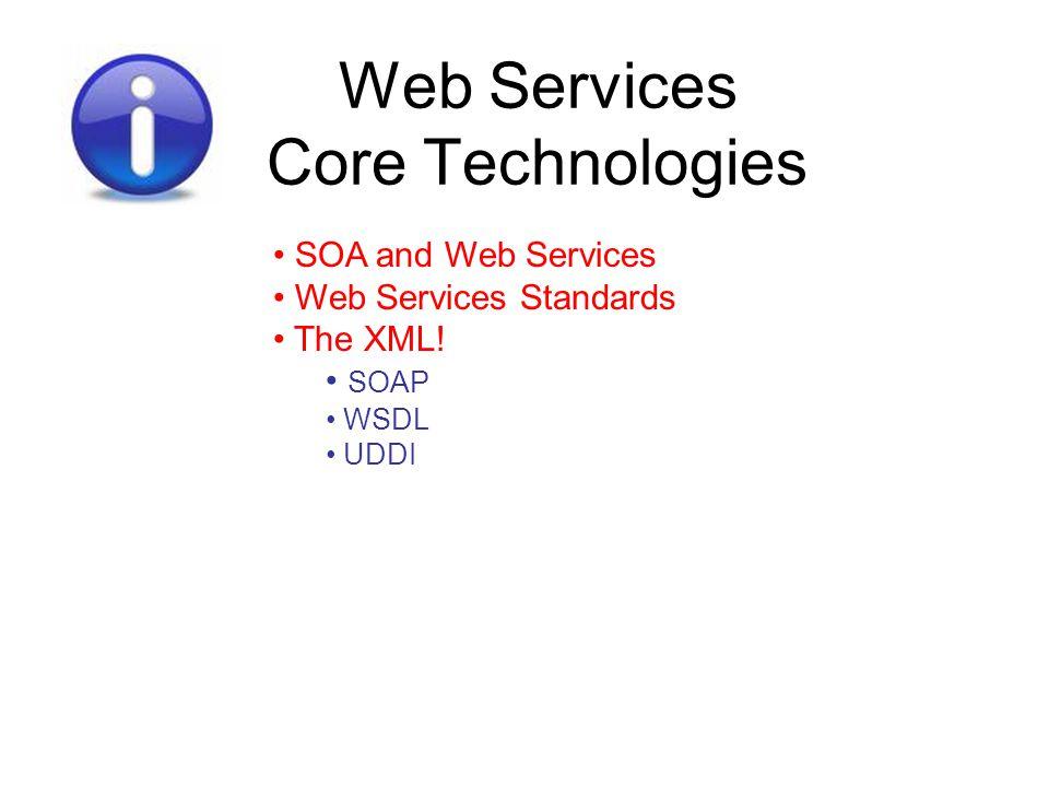 Web Services Core Technologies SOA and Web Services Web Services Standards The XML! SOAP WSDL UDDI