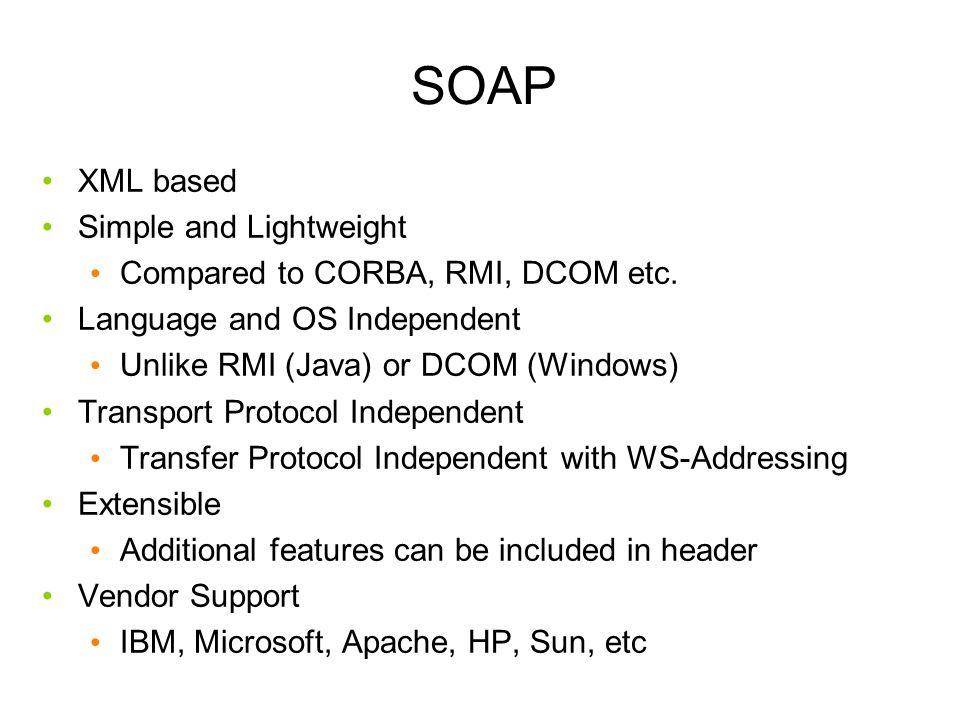SOAP XML based Simple and Lightweight Compared to CORBA, RMI, DCOM etc.