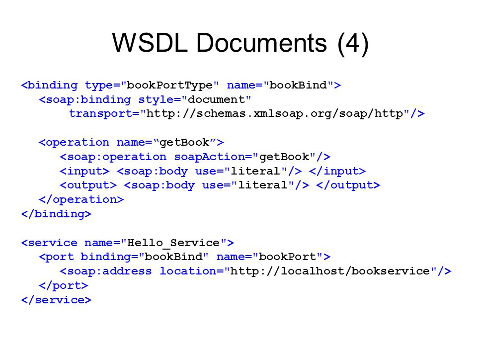 WSDL Documents (4) <soap:binding style= document transport= http://schemas.xmlsoap.org/soap/http />