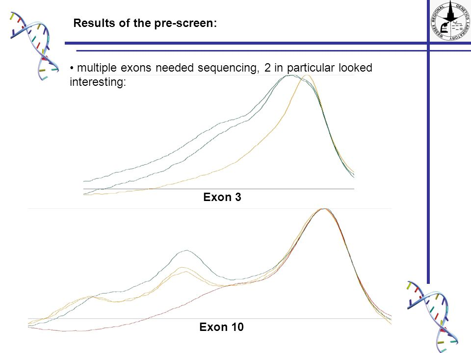 Results of the pre-screen: multiple exons needed sequencing, 2 in particular looked interesting: Exon 3 Exon 10
