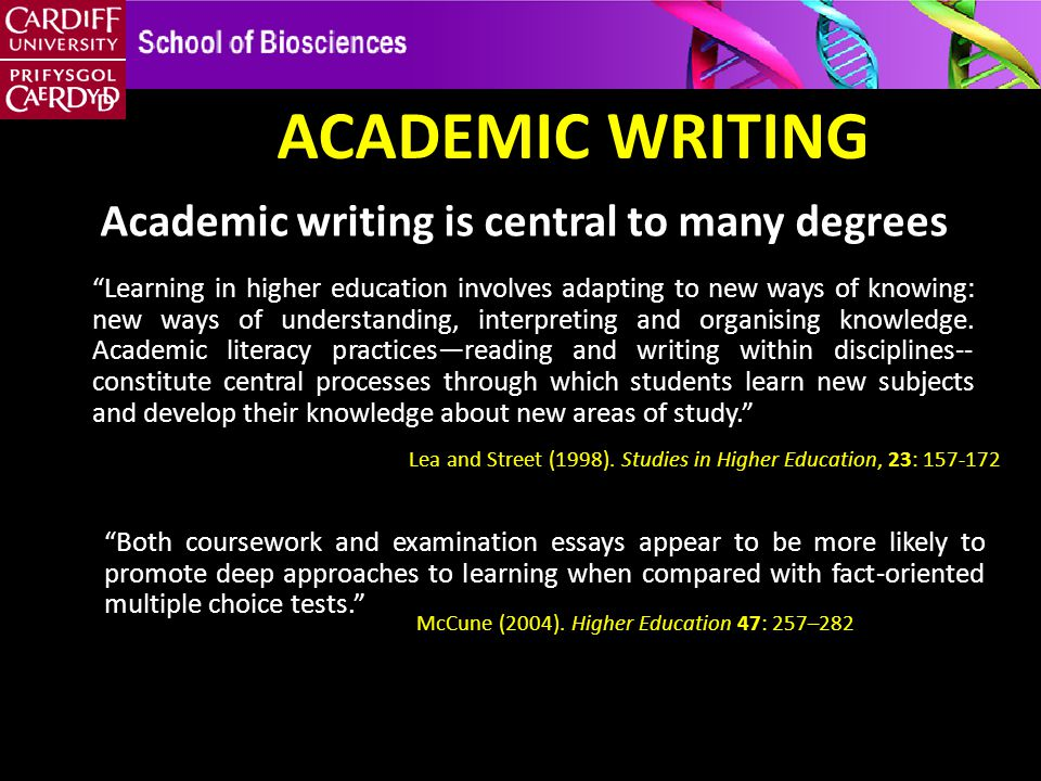 ACADEMIC WRITING Academic writing is central to many degrees Learning in higher education involves adapting to new ways of knowing: new ways of understanding, interpreting and organising knowledge.