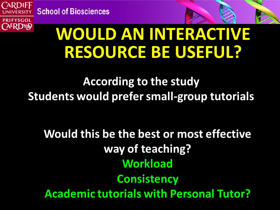 According to the study Students would prefer small-group tutorials WOULD AN INTERACTIVE RESOURCE BE USEFUL.