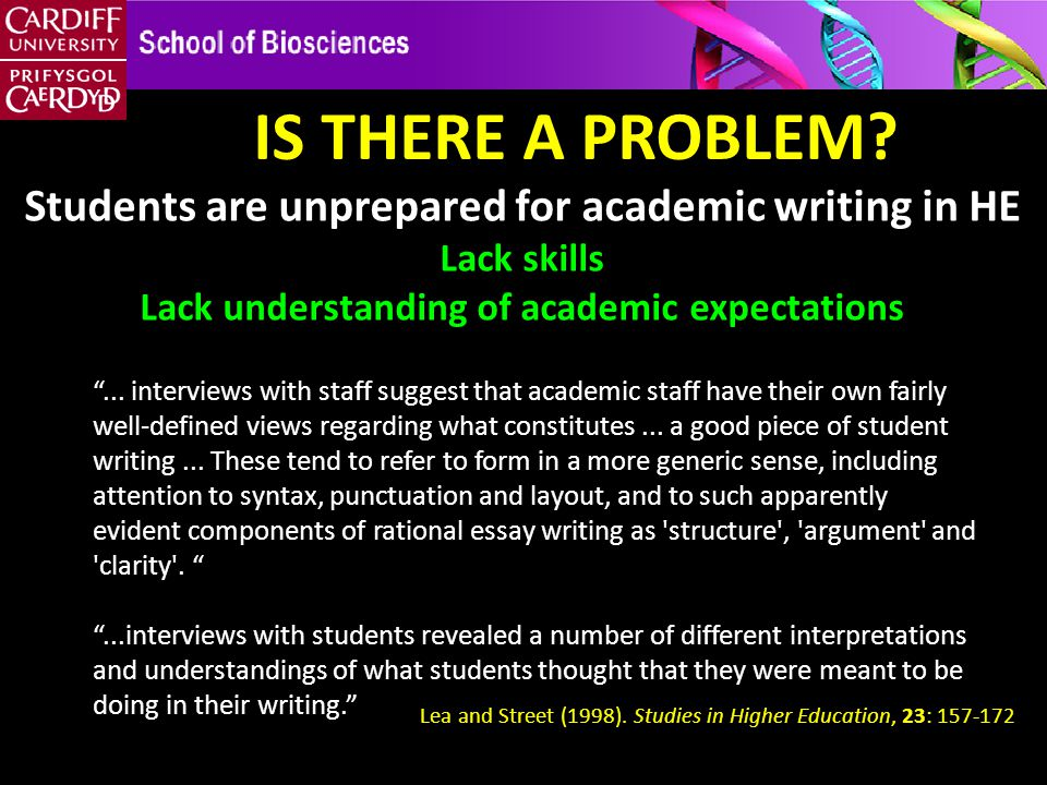 "IS THERE A PROBLEM? Students are unprepared for academic writing in HE Lack skills Lack understanding of academic expectations ""... interviews with st"