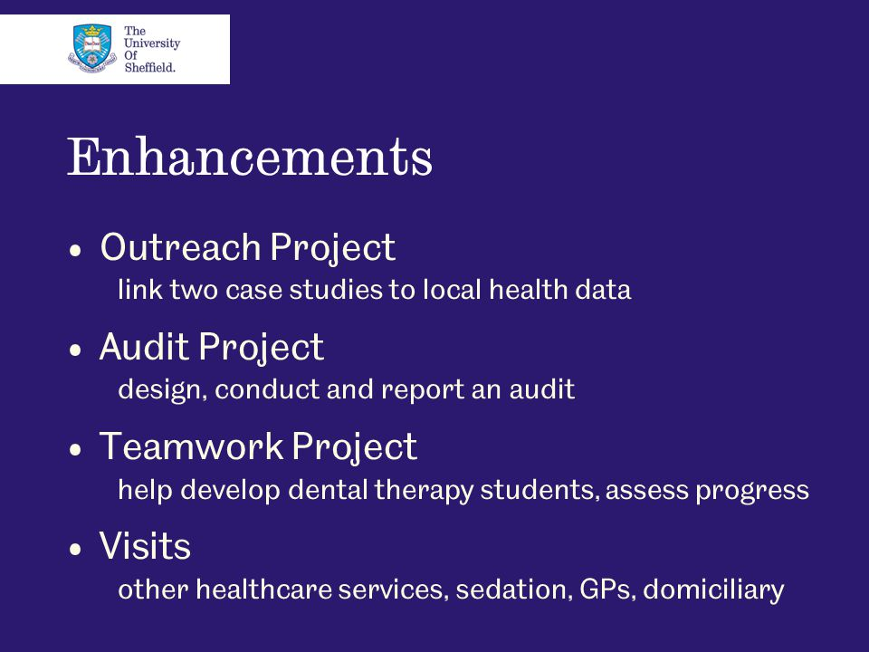 Enhancements Outreach Project link two case studies to local health data Audit Project design, conduct and report an audit Teamwork Project help devel