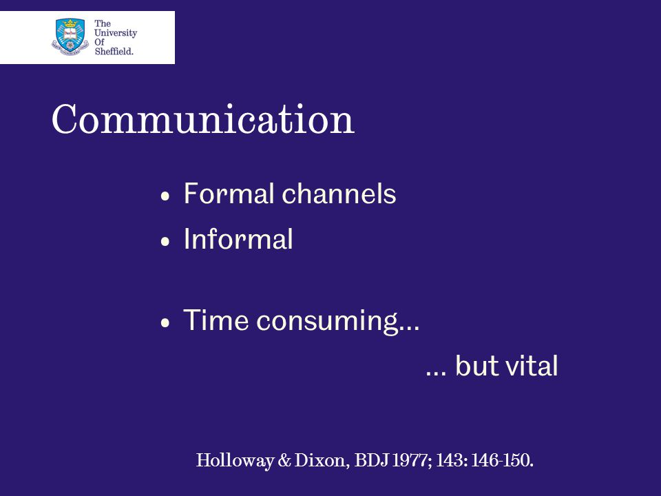Communication Formal channels Informal Time consuming… … but vital Holloway & Dixon, BDJ 1977; 143: 146-150.