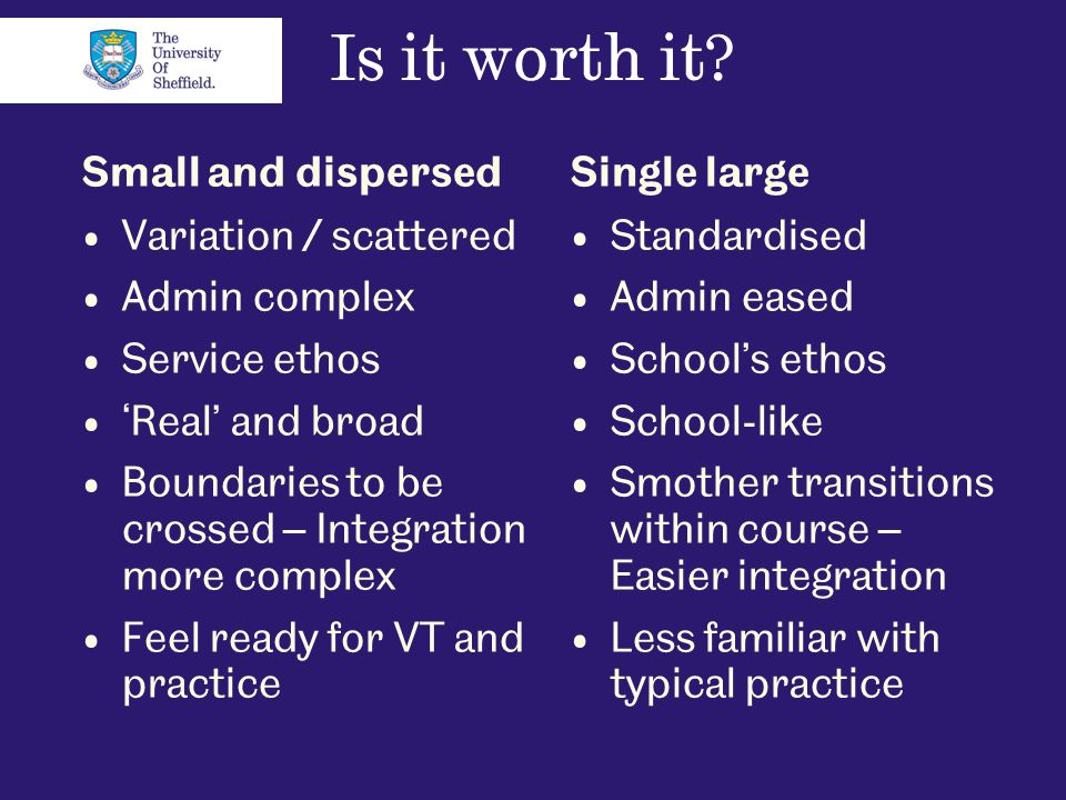 Is it worth it? Small and dispersed Variation / scattered Admin complex Service ethos 'Real' and broad Boundaries to be crossed – Integration more com