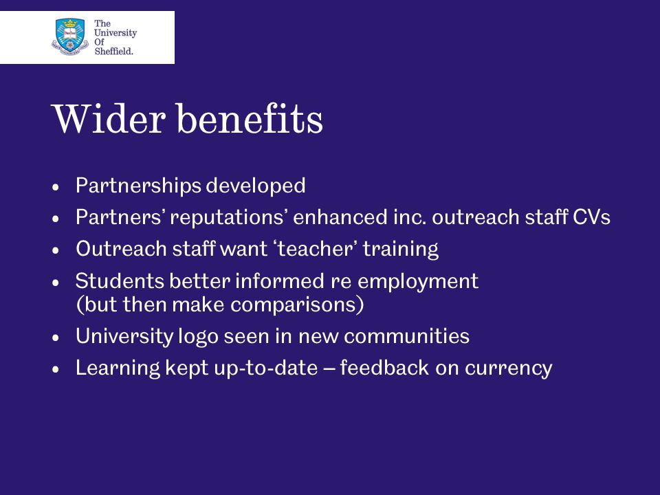 Wider benefits Partnerships developed Partners' reputations' enhanced inc. outreach staff CVs Outreach staff want 'teacher' training Students better i