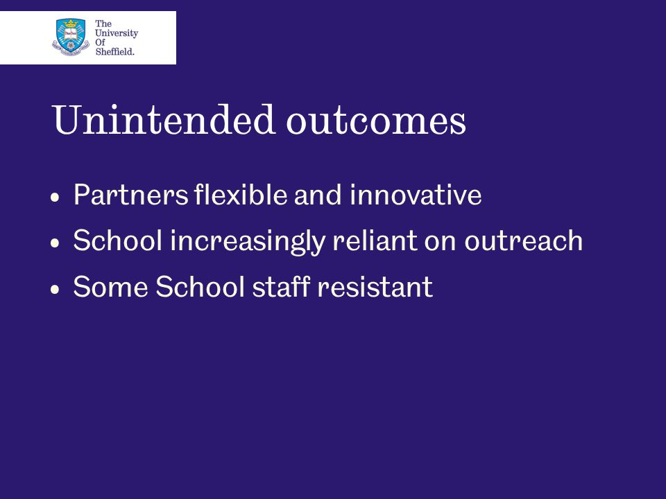 Unintended outcomes Partners flexible and innovative School increasingly reliant on outreach Some School staff resistant