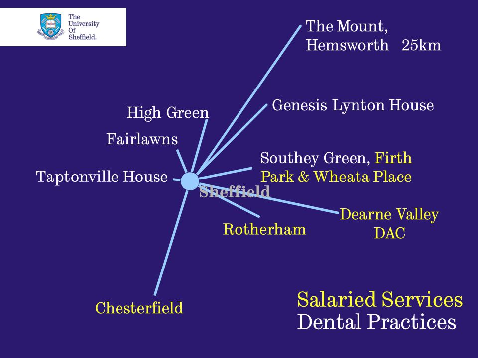 High Green Fairlawns Taptonville House Rotherham The Mount, Hemsworth 25km Chesterfield Dearne Valley DAC Southey Green, Firth Park & Wheata Place Genesis Lynton House Salaried Services Dental Practices Sheffield