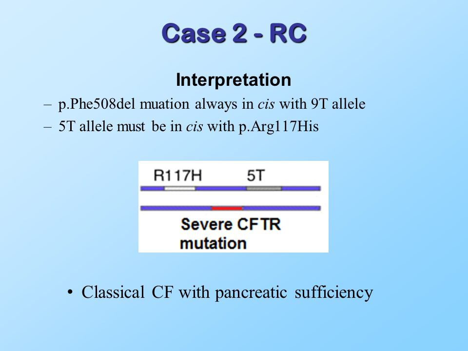 Case 2 - RC Interpretation –p.Phe508del muation always in cis with 9T allele –5T allele must be in cis with p.Arg117His Classical CF with pancreatic sufficiency