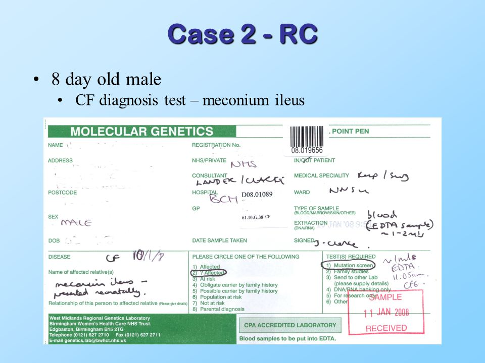 Case 2 - RC 8 day old male CF diagnosis test – meconium ileus