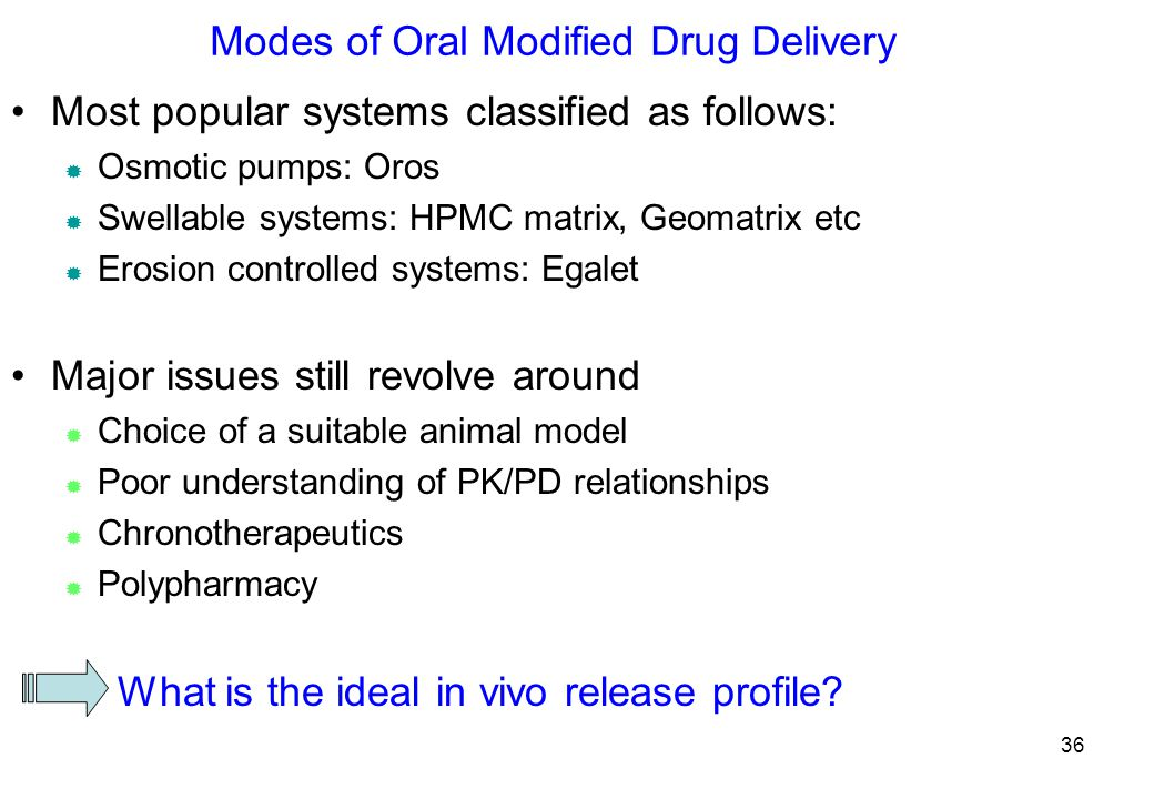 Modes of Oral Modified Drug Delivery Most popular systems classified as follows:  Osmotic pumps: Oros  Swellable systems: HPMC matrix, Geomatrix etc  Erosion controlled systems: Egalet Major issues still revolve around  Choice of a suitable animal model  Poor understanding of PK/PD relationships  Chronotherapeutics  Polypharmacy What is the ideal in vivo release profile.