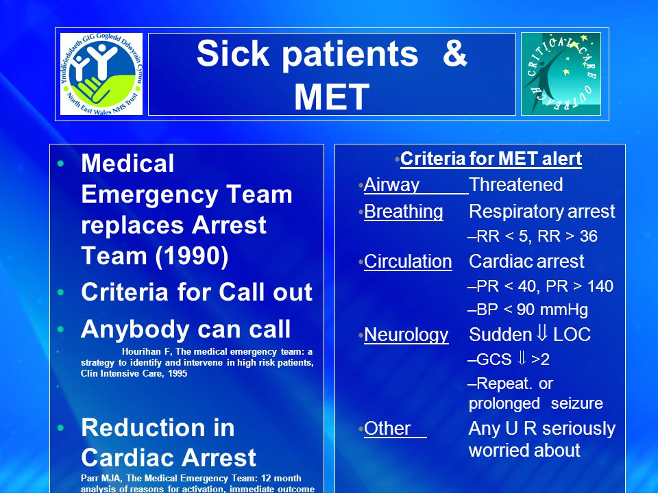 Sick patients & MET Medical Emergency Team replaces Arrest Team (1990) Criteria for Call out Anybody can call Hourihan F, The medical emergency team: