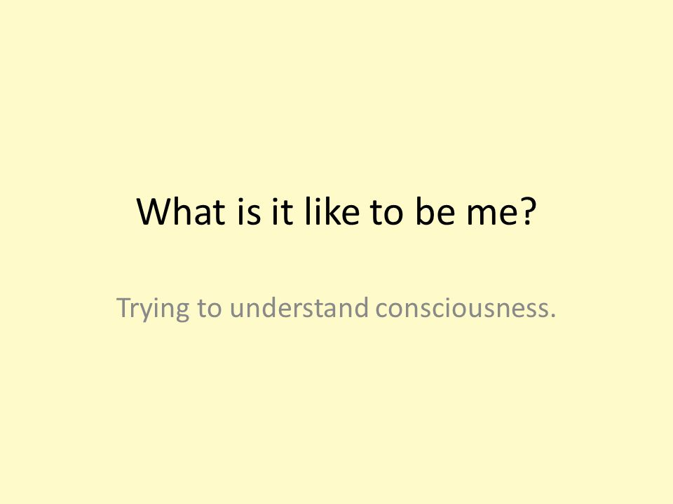 What is it like to be me Trying to understand consciousness.