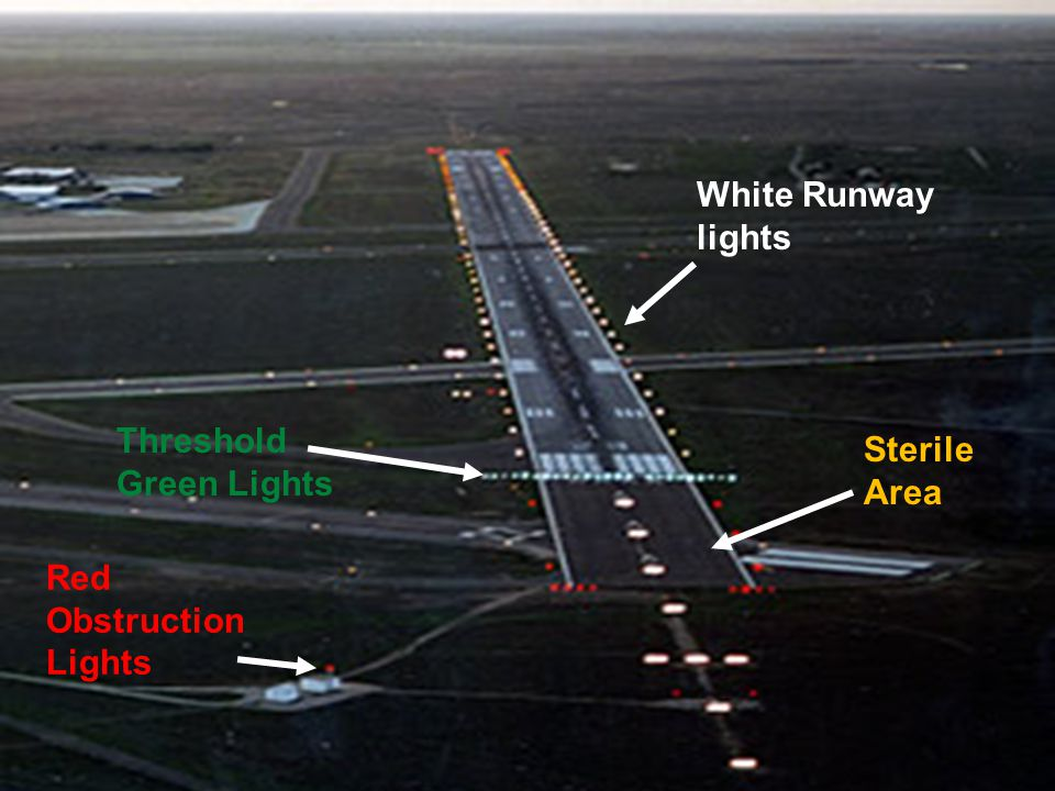 Threshold Green Lights White Runway lights Sterile Area Red Obstruction Lights
