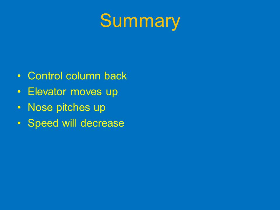 Control column back Elevator moves up Nose pitches up Speed will decrease Summary