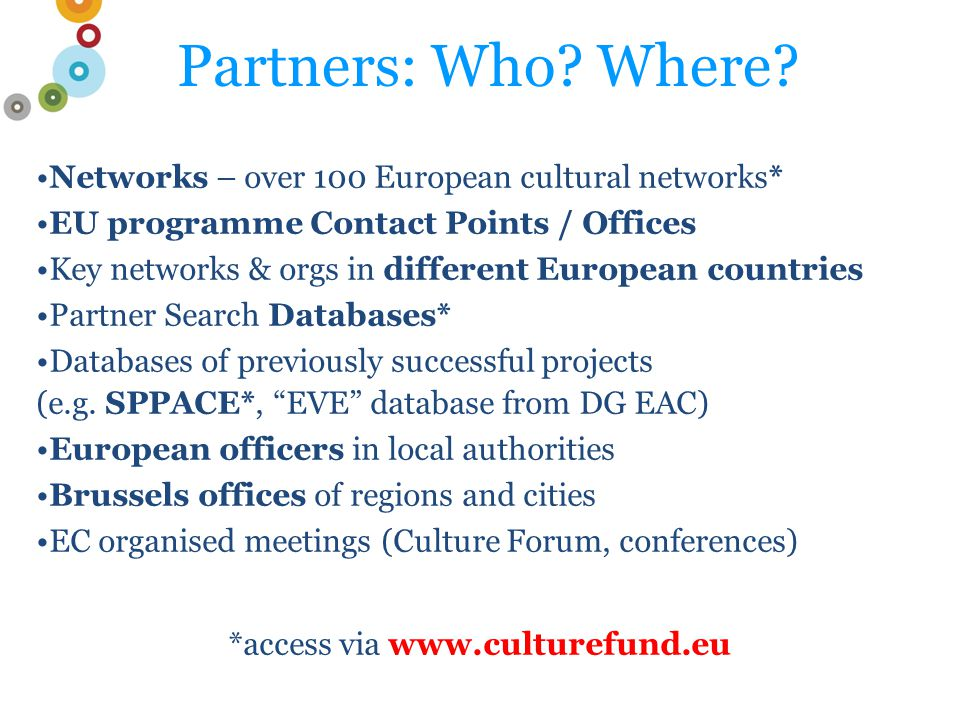 Partners: Who. Where.