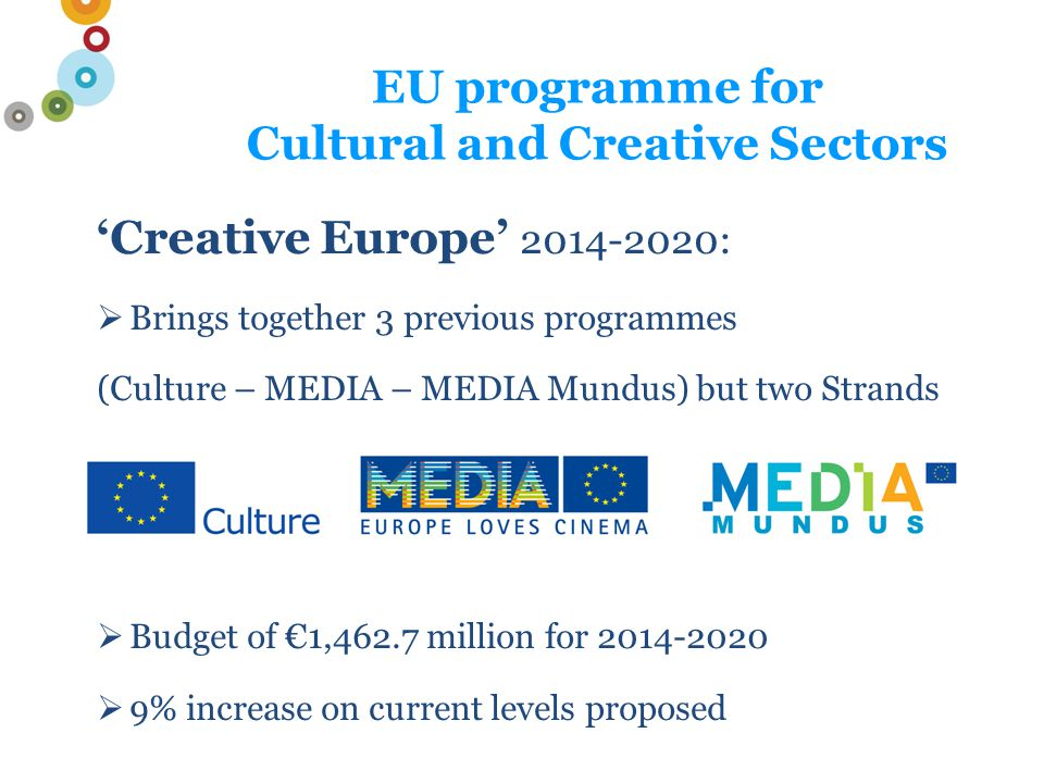 Events: Information events, and also workshops and surgeries for serious applicants Newsletter with updated information on Creative Europe 'Culture' – register via www.creativeeuropeuk.eu www.culturefund.eu Eur.