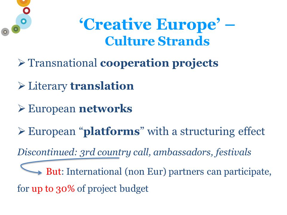 'Creative Europe' – Culture Strands  Transnational cooperation projects  Literary translation  European networks  European platforms with a structuring effect Discontinued: 3rd country call, ambassadors, festivals But: International (non Eur) partners can participate, for up to 30% of project budget