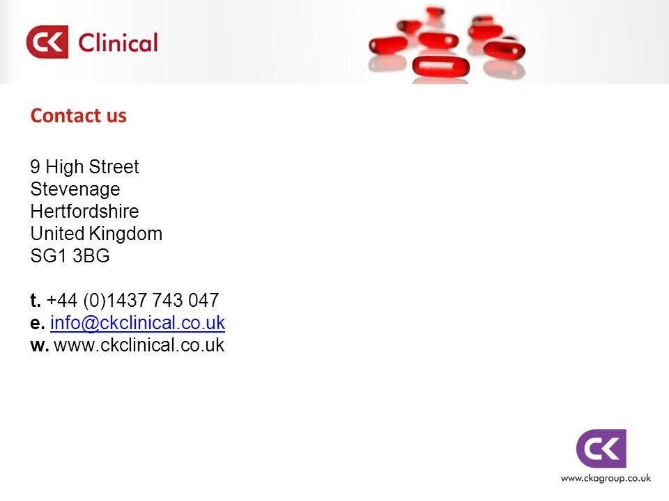 Contact us 9 High Street Stevenage Hertfordshire United Kingdom SG1 3BG t. +44 (0)1437 743 047 e. info@ckclinical.co.ukinfo@ckclinical.co.uk w. www.ck