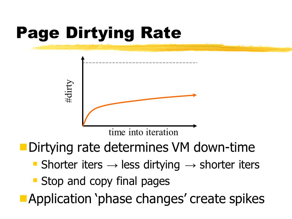 Page Dirtying Rate  Dirtying rate determines VM down-time  Shorter iters → less dirtying → shorter iters  Stop and copy final pages  Application 'phase changes' create spikes time into iteration #dirty