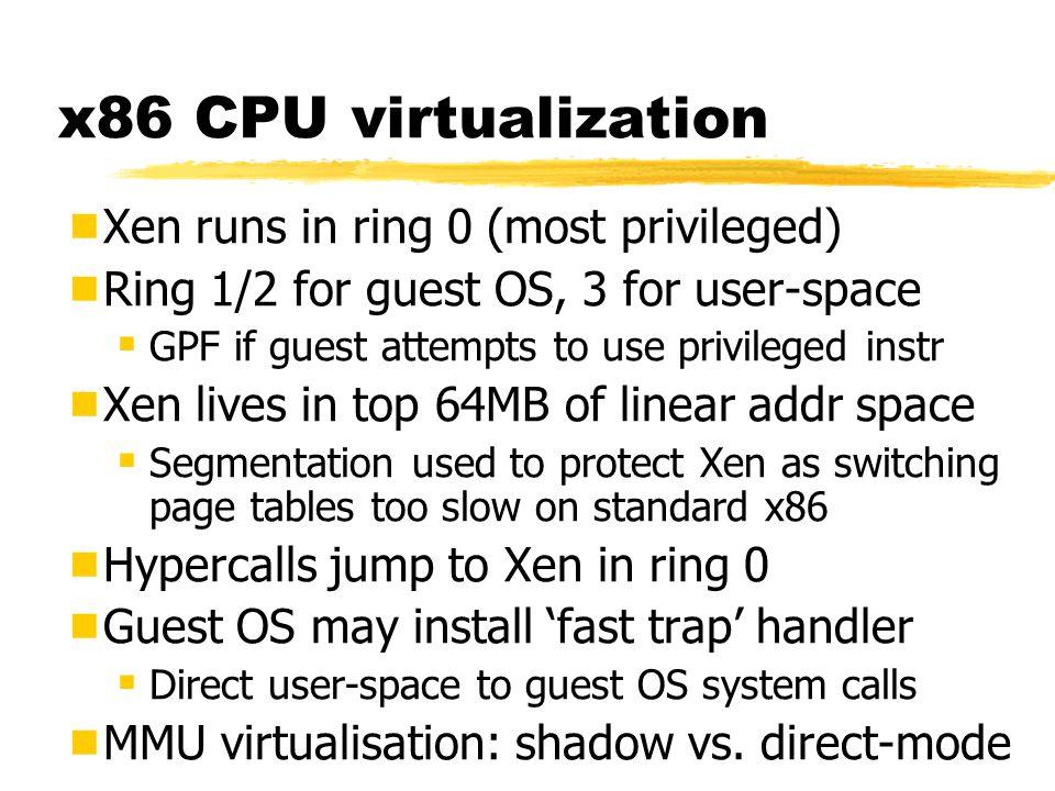 Scalability LX 2 LX 4 LX 8 LX 16 0 200 400 600 800 1000 Simultaneous SPEC WEB99 Instances on Linux (L) and Xen(X)