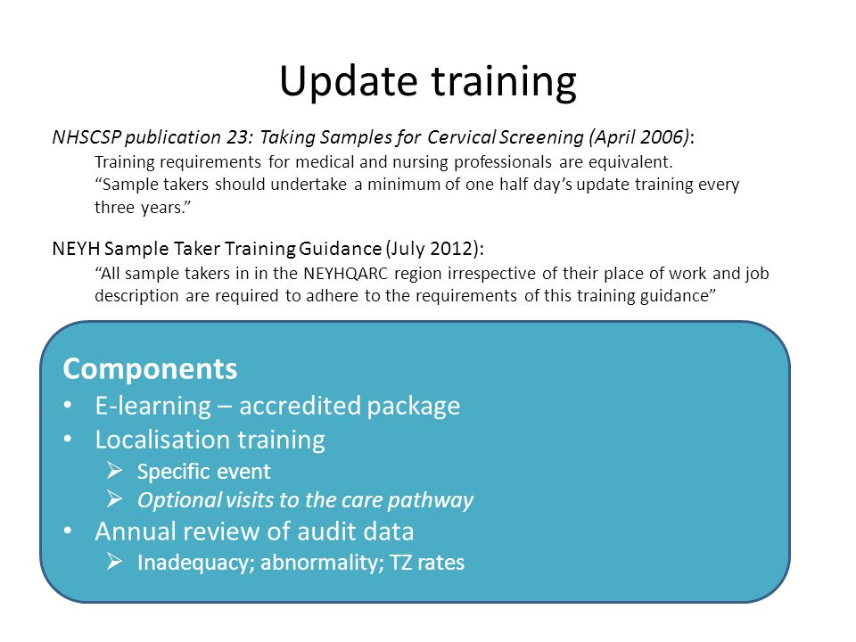 Update training Components E-learning – accredited package Localisation training  Specific event  Optional visits to the care pathway Annual review