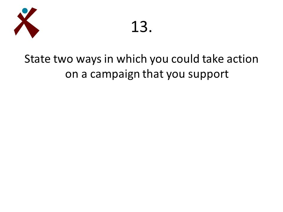 13. State two ways in which you could take action on a campaign that you support