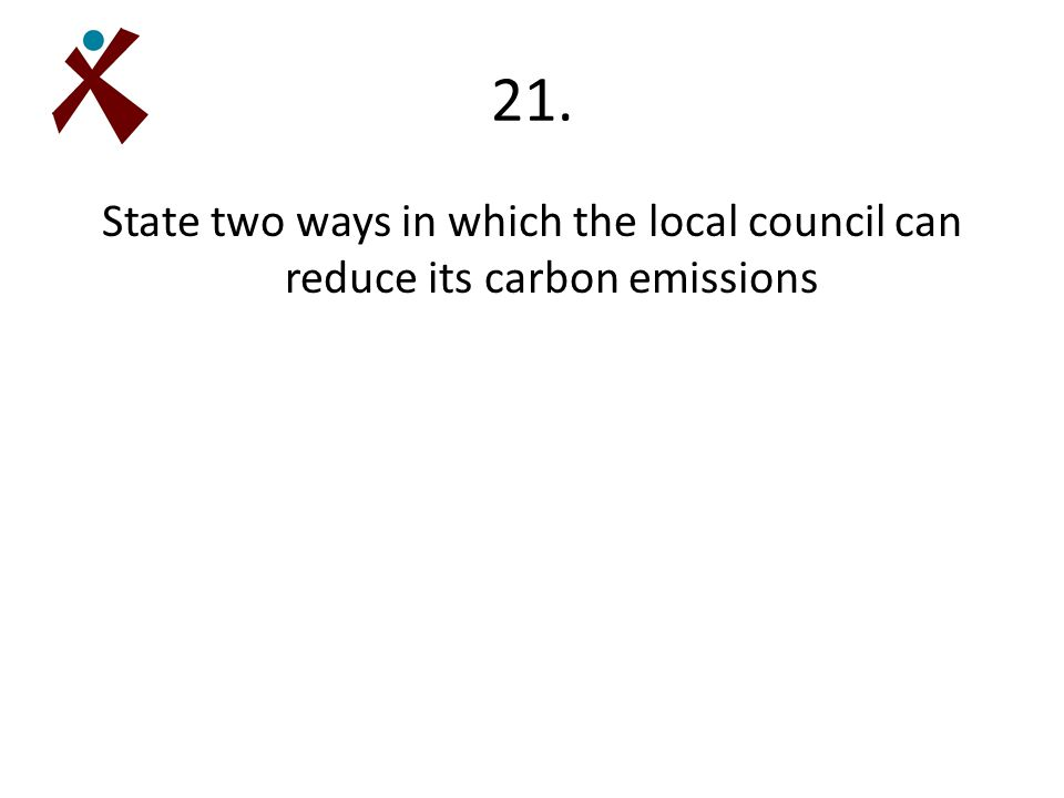 21. State two ways in which the local council can reduce its carbon emissions
