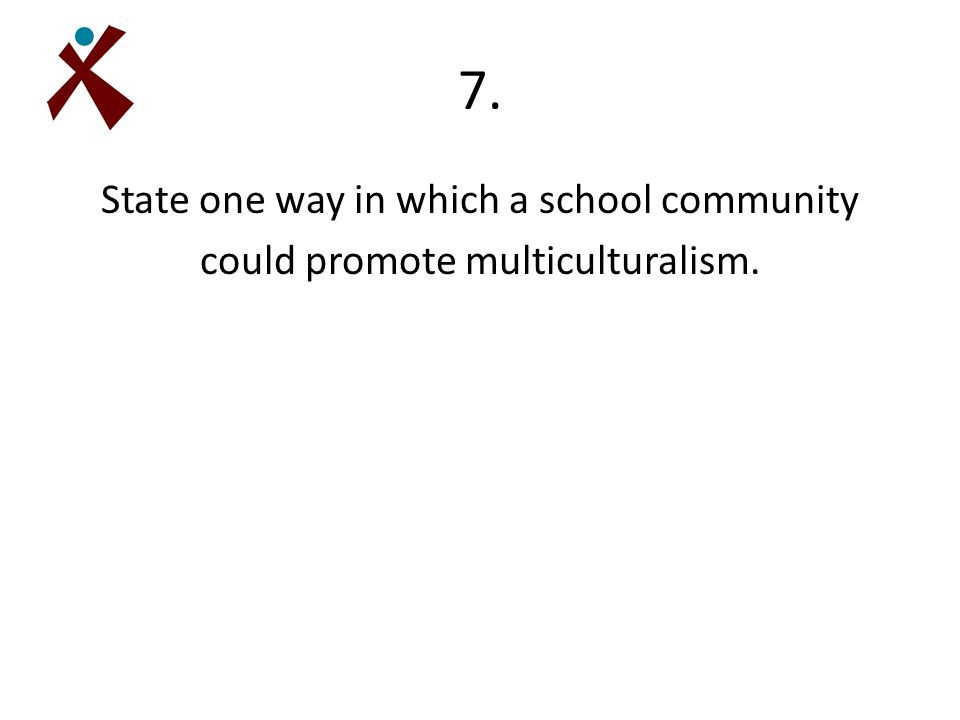 7. State one way in which a school community could promote multiculturalism.