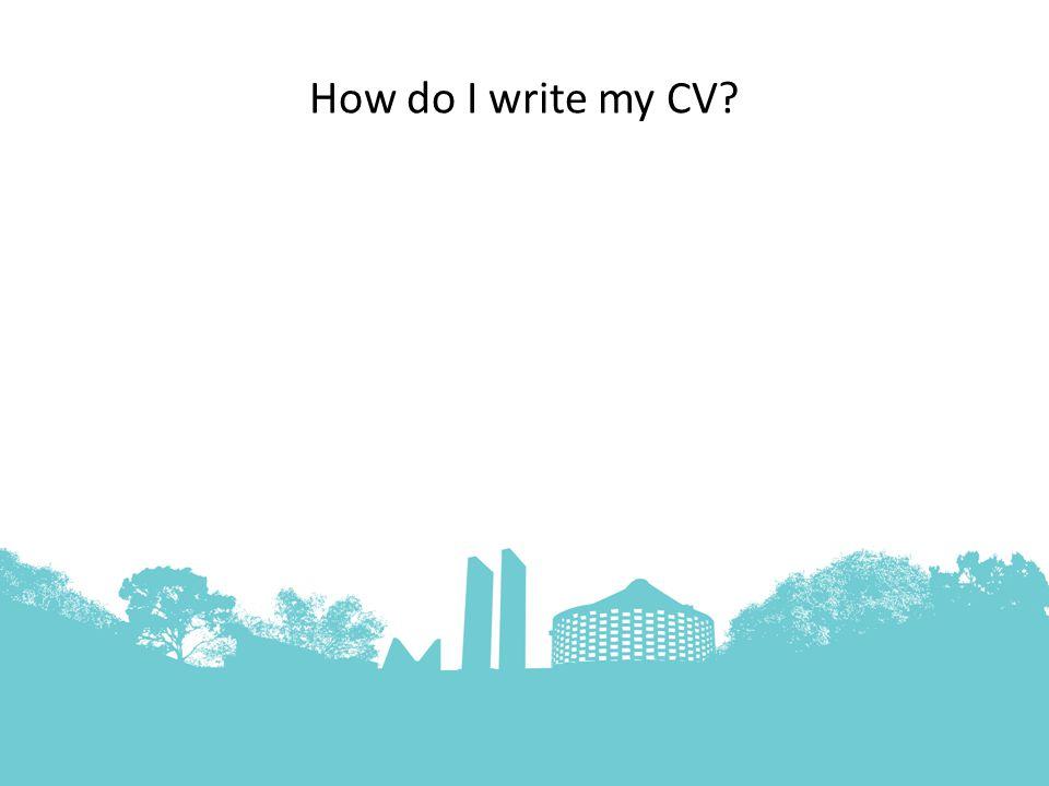 How do I write my CV