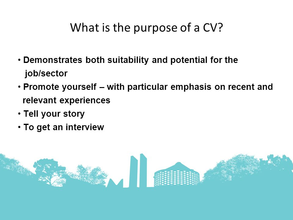 What is the purpose of a CV.