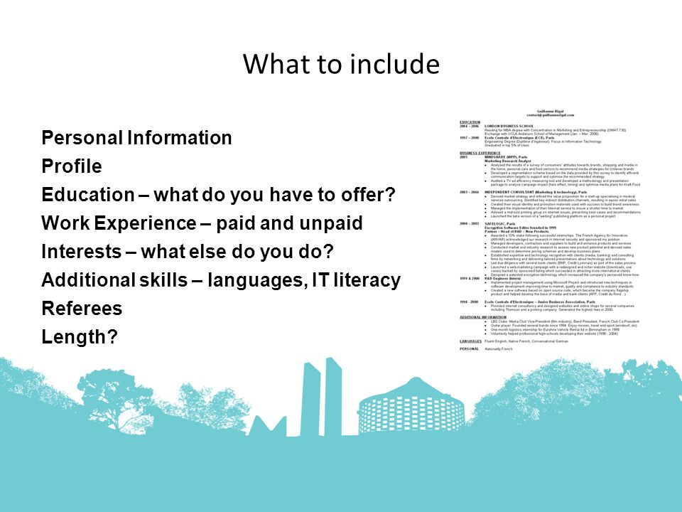 What to include Personal Information Profile Education – what do you have to offer.